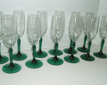 Champagne Flute Glasses, Set of 12 Champagne Stemware Glasses, Wine Glasses w/ Clear to Green Glass Stem, Vintage Barware, Cocktail Glasses