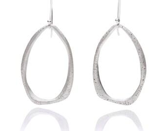Handing teardrop sterling silver texture earrings