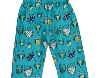 On SALE 40% OFF Owl Baby - Woodland - Blue Pants - Green Pants - Girls Pants - Boys Pants - Baby Clothes - Baby Pants - Cotton Pants - Nb 3m