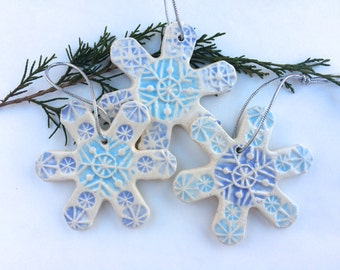 Christmas ORNAMENT SALE 15% off! Use coupon code Christmastakeoff15 at Checkout! Set of 3 Handmade Ceramic Snowflake ornaments