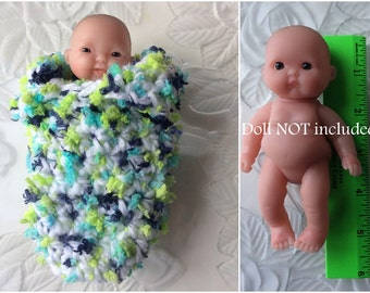 "Itty Bitty Baby Doll Sleeping Bag, Multi-colored Doll Bunting, Crochet Doll Clothes, Fits 5"" Itty Bitty Berenguer Lots to Love Baby Dolls"