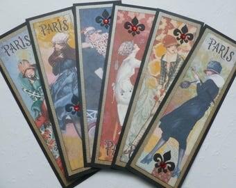 Paris bookmarks, french fashion themed, fleur de lis, book club gift, gift tags, set of 6