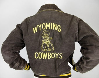 Vintage 1970s Wyoming Cowboys Corduroy Jacket, Rennoc Label, Sz S
