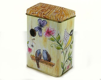 Vintage Tiny Tin Box, Bird House with Thatched Roof, Birds, Butterflies and Flowers Illustration