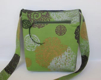 Asian Bag - Green Sage bag - Boho bag - Hipster bag - Metallic fabric bag - Free Spirit