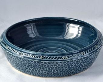 Mini Casserole Dish / Brie Baker in Slate Blue - Ceramic Stoneware Pottery