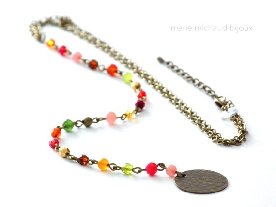 Colorful lariat necklace,Colorful Y necklace,Multicolor lariat necklace,Multicolor Y necklace,Boho lariat necklace,Original lariat necklace