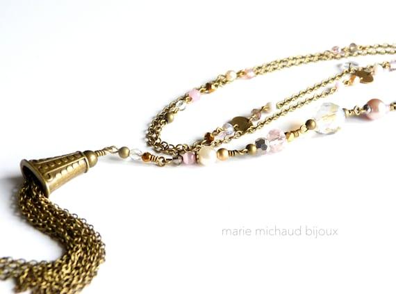 Long boho necklace,Nude tones necklace,Hippie chic necklace,Nude colors jewelry,Bride necklace,Boho wedding,Pastel jewelry,Bride jewelry