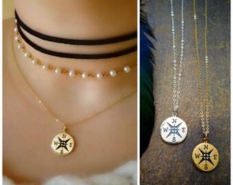 Graduation gift idea, Compass Charm Necklace, Otis B, Retirement gift, true north, follow your star, good luck, friendship, briguysgirls