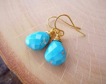 Vibrant Sleeping Beauty Turquoise earrings, teal blue, wire wrapped gemstone drops, gold fill, simple dainty, azure, natural turquoise