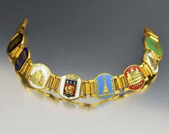 Paris Decor Bracelet, Eiffel Tower, French Souvenir Bracelet, Art Deco Bracelet, Enamel Jewelry, 1930s Art Deco Jewelry, French Vintage