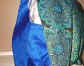 Royal Peacock Mandala COWL Hood / Infinity Scarf reversible