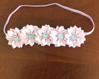 Pink Floral Elastic Hair Band Headband