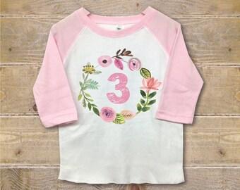 Third Birthday Shirt Girl, Three Shirt, Third Birthday Outfit, 3rd Birthday Shirt, 3rd Birthday Outfit, Girl's Birthday Shirt, Three Shirt