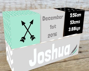 Personalized Wooden Name Birth Blocks Custom Made Feather Arrow Black