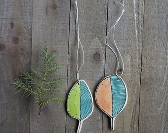 Christmas ornament, set of two leaf ornaments, hand drawn ornament, orange and green leaf home decor