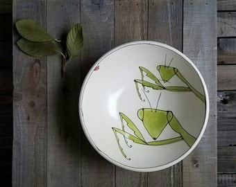 Green praying mantis  bowl, insect cereal bowl, gift for him, rustic garden home decor.