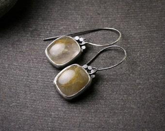 Oxidized sterling silver rutilated quartz bezel set drop dangle earrings