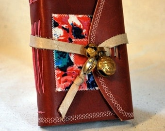 Small Dark Pink Leather Journal with Bells