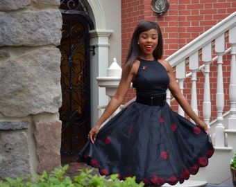 Rose, Scalloped black organza skirt with rose petals