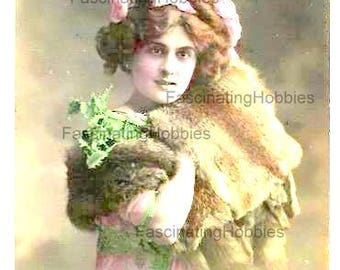 Vintage Print - WOMAN with Fur MUFF, SCARF, Portrait - French real colored photo Postcard- Art Nouveau- Happy New Year French greetings 1912