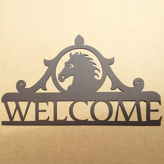 Metal Welcome Sign With A Horse  (B9)