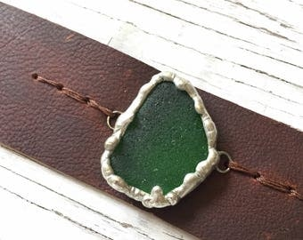 Leather Cuff with Large Sea Glass Pendant Rustic Bracelet