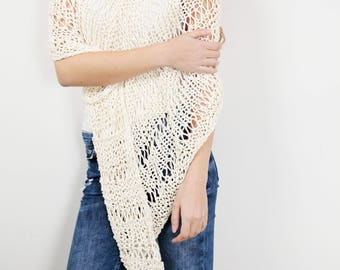 Hand knit little cotton poncho knit scarf knit shrug white cream woman sweater