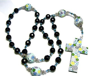 20% OFF Anglican Prayer Beads Rosary Faceted Black Onyx Handmade Polymer Clay Beads Cross Protestant Spirituality & Religion