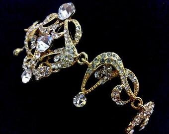 Statement Wedding Bracelet, Gold Bridal Bracelet, Gatsby Bracelet, Art Deco Wedding Jewelry, Swarovski Victorian Bridal Jewelry, CARMEN