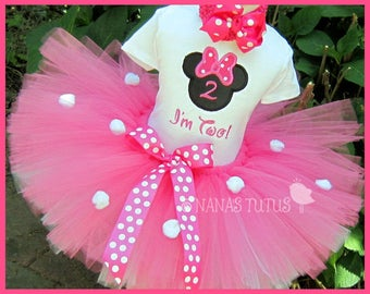Hot Pink,  Minnie, Party Outfit,Silhouette,Number,  Minnie Mouse Birthday, Theme Parties,Personalized in Sizes  1yr thru 5yrs