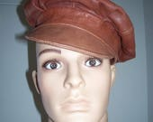 Leather Newboy cap, Vintage, Walter Dyer, L, Classic, Hipster, Urban, Unisex, Brown Leather hat