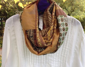 Tribal scarf, women's silk cotton woven 9' long fashion scarf, Bohemian Indian boho Lhasa infinity brown gold beige black green mustard i343