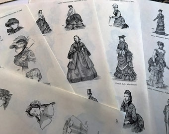 Late Nineteenth Century Clothing Illustrations Black and White Book Prints
