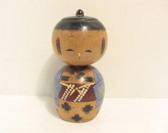 Vintage Japanse Kokeshi Nodder Doll Wooden Wood Japan Bobblehead Doll
