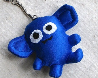 Small creature keychain, plushie monster with googly eyes, royal blue