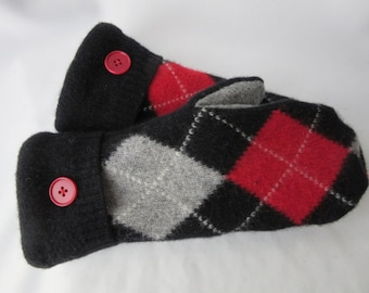 Argyle Red and Black Mittens
