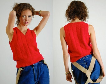 Red Sweater Vest Vintage Red Preppy Androgynous Cropped Sweater Knit Vest (s m)