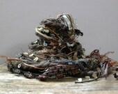 dark matter fiber effects™  12 yard art yarn bundle . charcoal gray gunmetal grey bronze tan sequins metallic novelty yarn pack