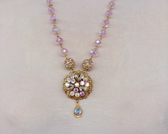 Pink crystal assemblage necklace