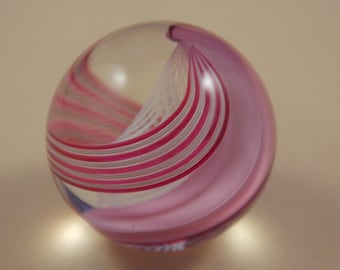 Clear, Whiteand Pink swirl Glass Bead, 27MM round