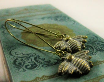 Honey Bee Earrings White and Gold bumble bee earrings bee jewelry cute summer earrings bee lover bumblebee