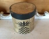 Paper Mache White Vintage Pineapple Box