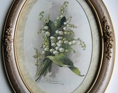 Catherine Klein, Lily of the Valley, Art Print, Vintage Frame, Shabby Chic Decor, Half Yard Long