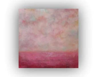 Abstract Landscape Oil Painting- Pink Sky Clouds and Field Palette Knife Painting- Original 20 x 20 Art on Canvas