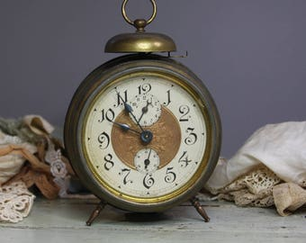 Vintage Alarm CLOCK- Made in GERMANY Non working- Retro Decor with Brass Housing- Winding Alarm Clock- Distressed Patina- Prop- M28
