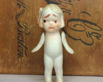 Vintage Porcelain Doll with Jointed Arms Bisque Antique Doll- Collectible Doll Blonde Hand Painted Face- Made in Japan