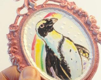 Penguin art, African Penguin, Penguin print,mixed media art, upcycled art, Original art, Mini Painting,  repurposed  Vintage Frame