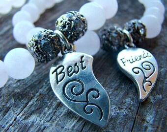 Frosted Pink Quartz and Silver Friendship Charm Bracelets, Set of 2, Beaded Stretch Bracelet, Gemstone Bracelet, BFF Jewelry