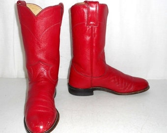 Vintage Womens Boots size 6 A Narrow Ropers Justin Cowboy Cowgirl Boho Hippie
